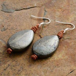 Teardrop Pyrite Healing Crystal Leather Earring